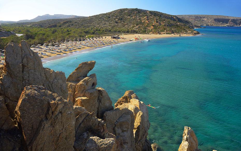 Greece, Crete, Palm Beach, Vai, Aerial view of coastline